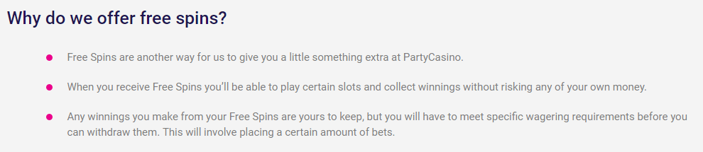 Party Casino free spins offers